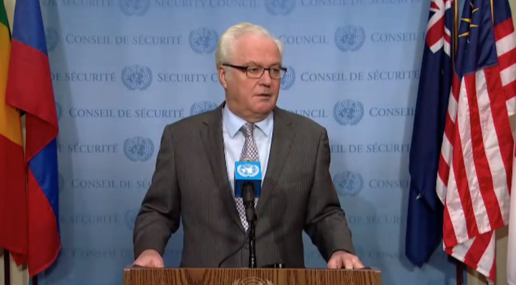 Remarks to the press by Ambassador V.Churkin,  Permanent Representative of the Russian Federation to the United Nations, following the Security Council  consultations on Syria